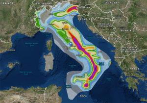 mappa del rischio sismico in italia