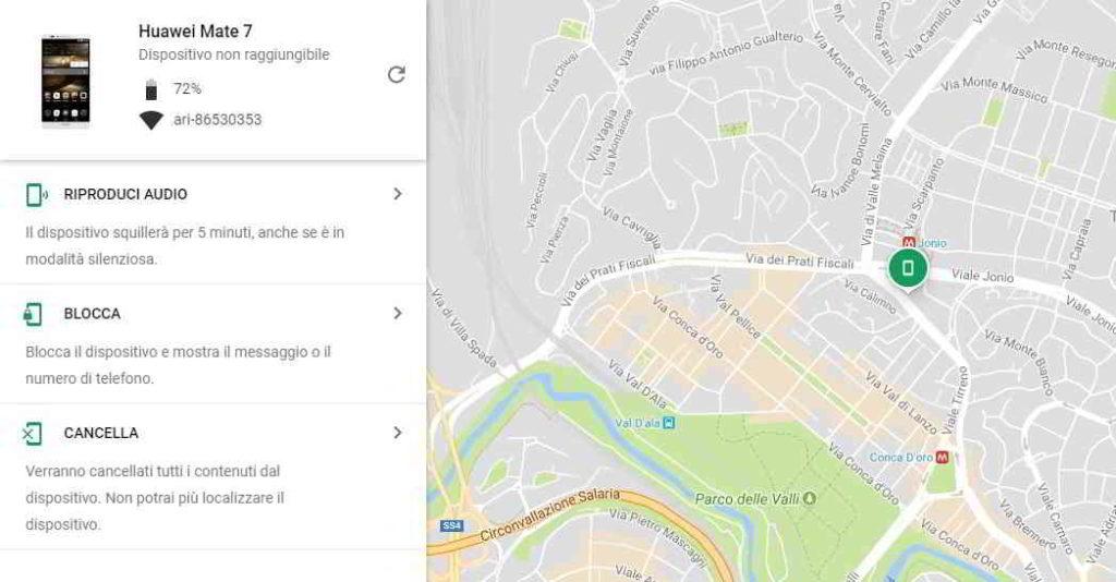 Come localizzare cellulare gratis con Google find my device