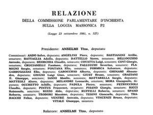 Commissione P2: relazione conclusiva di Tina Anselmi