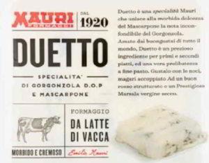Gorgonzola e mascarpone Duetto Mauri ritirato dal commercio: listeria monocytogenes