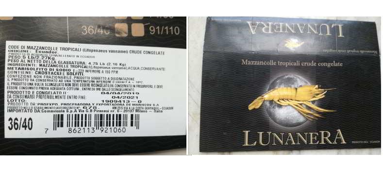Code di mazzancolle tropicali ritirate dal commercio per rischio chimico