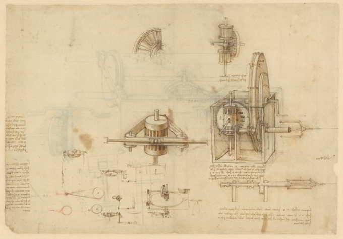 codice atlantico di Leonardo da vinci, particolare